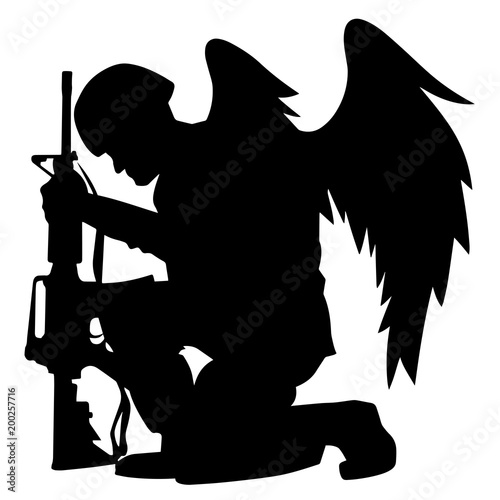 Fotografie, Obraz  Military Angel Soldier With Wings Kneeling Silhouette Vector Illustration