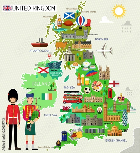 United Kingdom Travel Map. Vector Illustration. Canvas Print