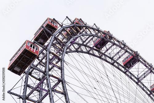 Poster Amusementspark Ferries wheel, Prater, Vienna, Austria, overcast day