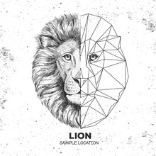 Hipster Animal Realistic And Polygonal Lion Face. Triangle Animal
