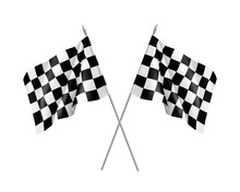 Two Racing Flags Crossed Reali...
