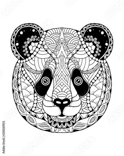 Fototapeta premium Zentangle miś panda stylizowane. Ilustracja wektorowa odręczne
