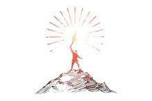 Hand Drawn Man On Top Of Hill With Shining Torch