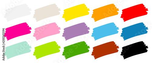 Obraz Set Of 15 Brushstrokes Color - fototapety do salonu