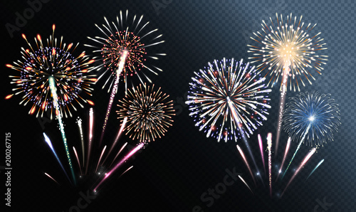 Photo Set of isolated vector fireworks