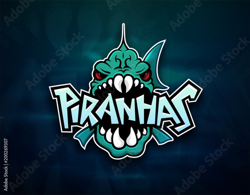 Piranhas emblem logo for sports team Canvas-taulu