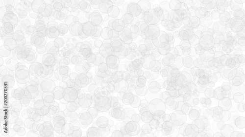 Abstract light background of translucent circles with outlines. Backdrop with randomly distributed geometric shapes in white colors.