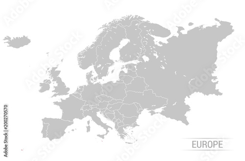 Fotografie, Obraz Grey Europe map Vector illustrations