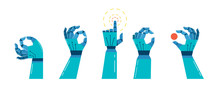 Robot And Mechanic Hands Banner, Concept Design