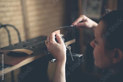 Fototapety, obrazy: Craftsman works with decoration metal enamel