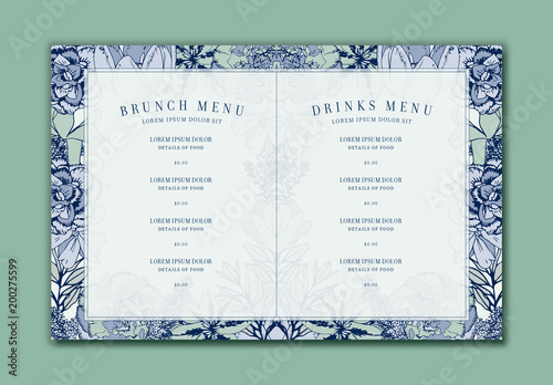 blue floral restaurant brunch menu layout buy this stock template