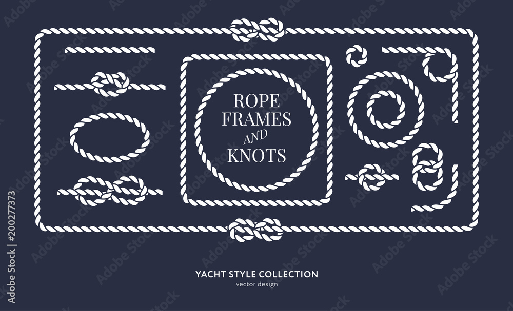 Fototapety, obrazy: Nautical rope knots and frames