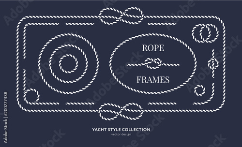Obraz Nautical rope knots and frames - fototapety do salonu