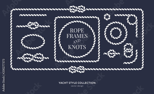 Leinwand Poster Nautical rope knots and frames