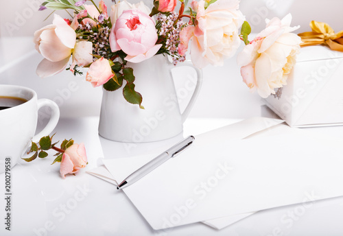 Cup Of Coffee Gift Letter White Envelope On White Background With