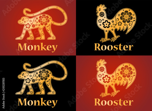 Monkey Rooster Symbols Of The Chinese Horoscope 2028 2029 Years
