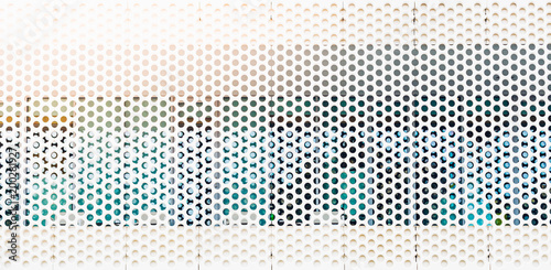Fotografie, Tablou  Perforated plate on the building window for background