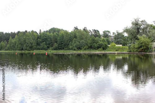Foto op Plexiglas Khaki beautiful lake landscape with trees and herbs