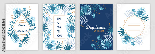 Foto  Templates of wedding invitations with a tropical pattern