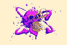 Abstract Multicolored Liquid Skull Cover. Cool Trendy Vivid Colors. Vector Illustration.