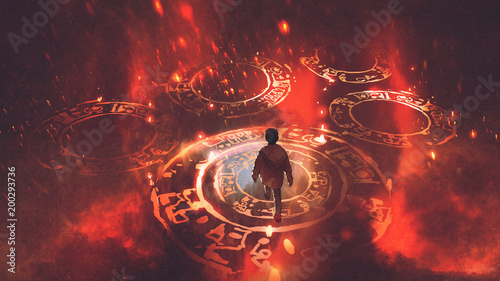 boy walking on magic circles or sacred symbols in the air with, digital art styl Poster Mural XXL
