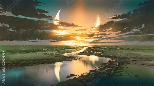 Foto auf Leinwand Khaki beautiful scenery of water road in colorful rustic place against black clouds and crescent moon in the sky, digital art style, illustration painting