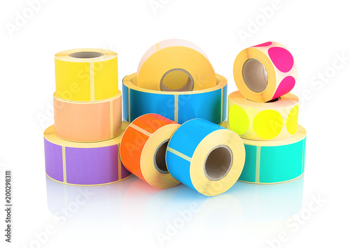 Cuadros en Lienzo Colored label rolls isolated on white background with shadow reflection