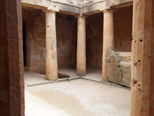 Coloumns In An Underground Tomb In Paphos Cyprus