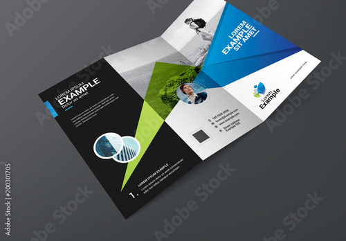 green and blue trifold travel brochure layout buy this stock