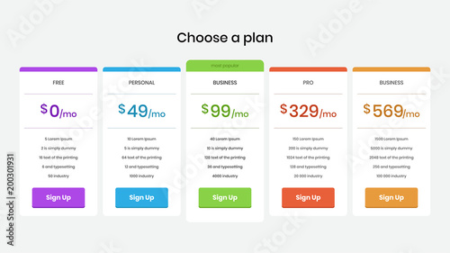 Pricing plans and tables for web and application  Template