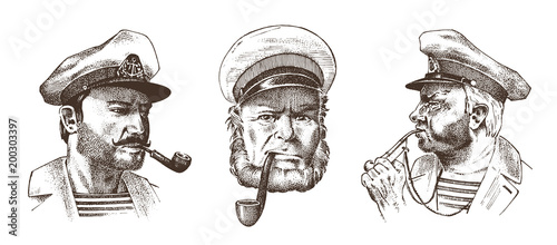 In de dag Schip Boatswain with pipe. Portrait of a sea captain, Marine old sailor or bluejacket, whistle and seaman with beard or men seafarer. travel by ship or boat. engraved hand drawn in old vintage sketch.