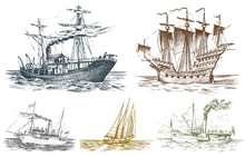 Motor Ship In The Sea, Summer Adventure, Active Vacation. Seagoing Vessel With Steam Smoke From The Pipe, Nautical Sail, Marine Boat. Water Transport In The Ocean. Engraved Hand Drawn In Vintage Style