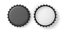 Front And Back View Of Black Beer Caps, Isolated On White Background, Top View. 3d Illustration
