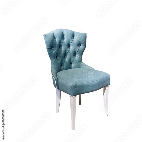 light blue fabric chair in chester style for elite loft interior isolated white background Fotomurales