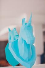 Unicorn Head Paper On Wall Mirror Light Interior Studio