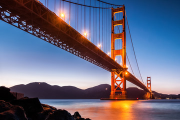 View from under Golden Gate Bridge in San Francisco at dusk