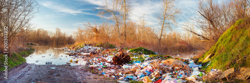 Fotografie, Obraz  Lake polluted with waste garbage