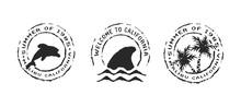 Retro California Beach Label S...