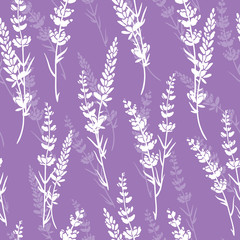 FototapetaLavender flowers purple vector seamless pattern. Beautiful violet lavender retro background. Elegant fabric on light background Surface pattern design.