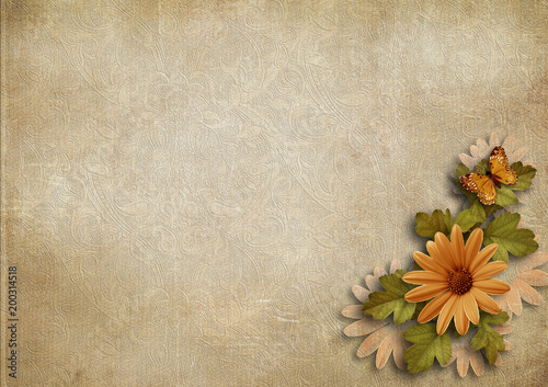 Foto auf Gartenposter Schmetterlinge im Grunge Grunge vintage background with flowers
