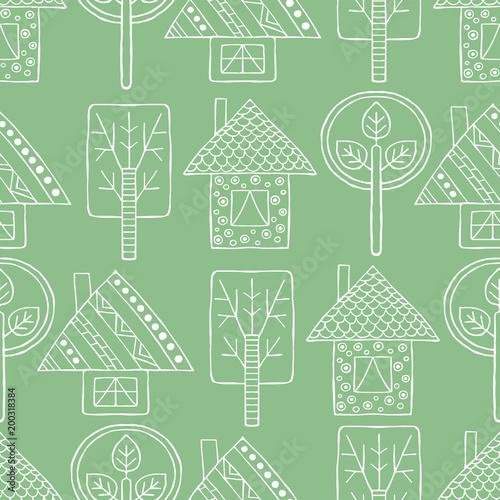 wektor-recznie-rysowane-bez-szwu-desen-dekoracyjne-stylizowane-dziecinne-drzewa-dom-doodle-styl-plemiennych-ilustracji-graficznych-rysowanie-linii-slodkie-strony-rysunku-seria-doodle-kreskowki-wzory-szkicu