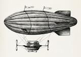Ręcznie rysowane sterowiec na białym tle - 200324364