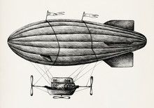 Hand Drawn Airship Isolated On...