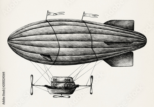 Hand drawn airship isolated on background Wallpaper Mural