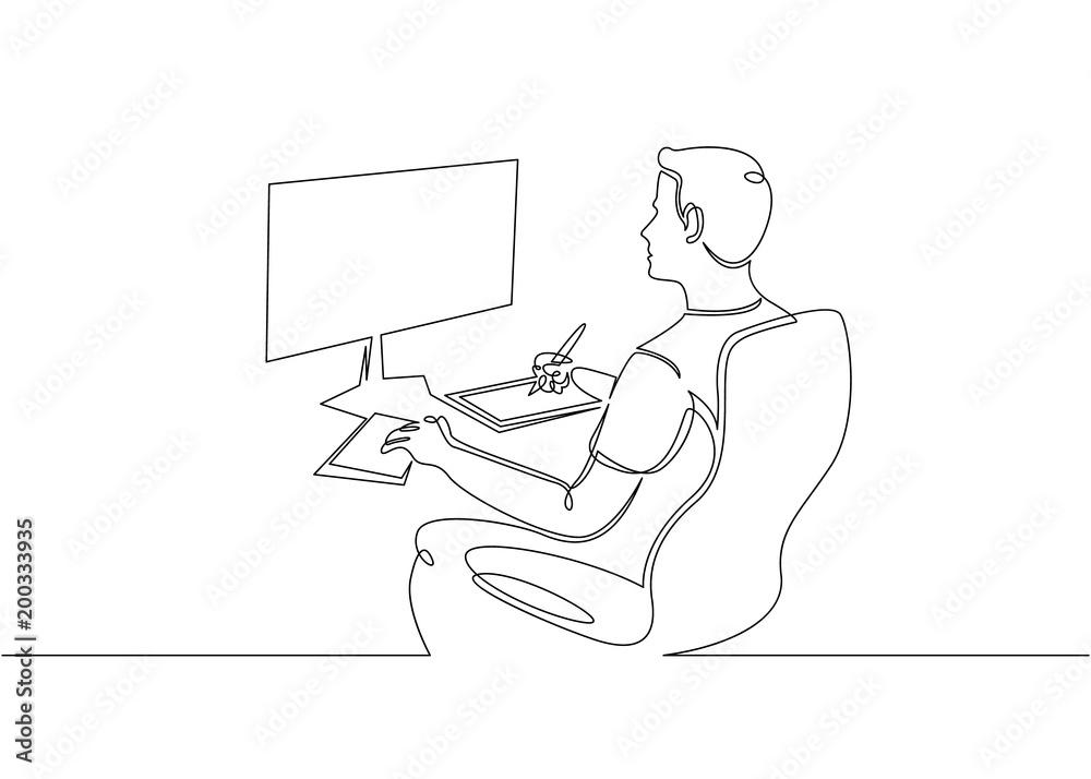 Fototapeta Continuous single drawn one line designer looks working monitor