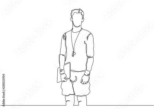 Foto Continuous single drawn one line sports coach trainer