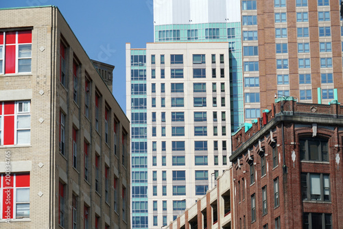 Papiers peints Con. Antique close up on old colorful building exterior in Boston downtown