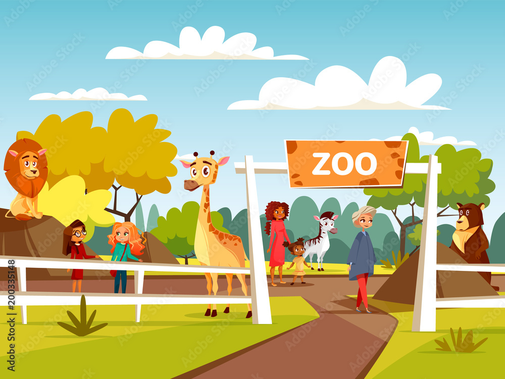 Fototapeta Zoo vector illustration or petting zoo cartoon design. Open zoo wild animas and visitors family with children interacting with African lion and giraffe, wild bear or zebra in natural area background