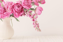 Pink Peony In  Vase On White B...