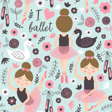 Seamless Pattern Blue With Cute Ballerina Girl - Vector Illustration, Eps